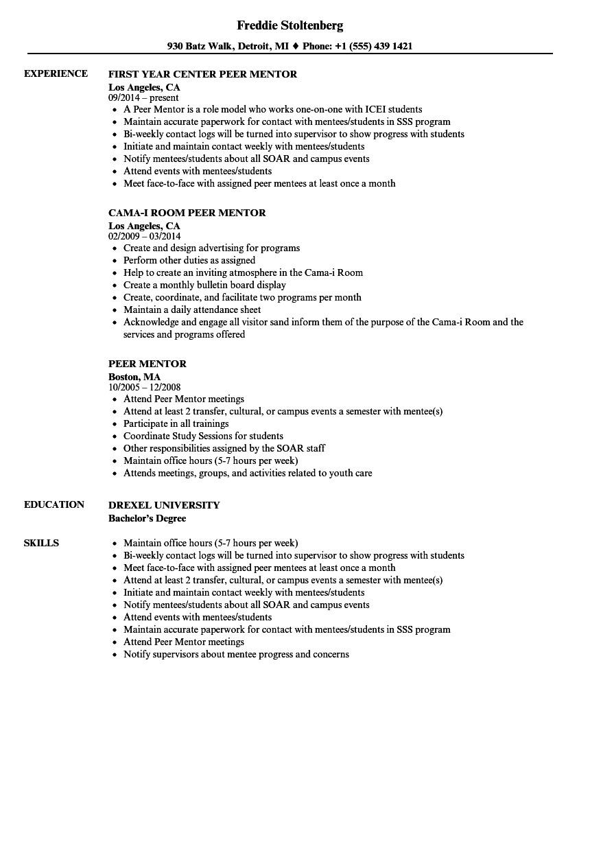 peer mentor resume sample
