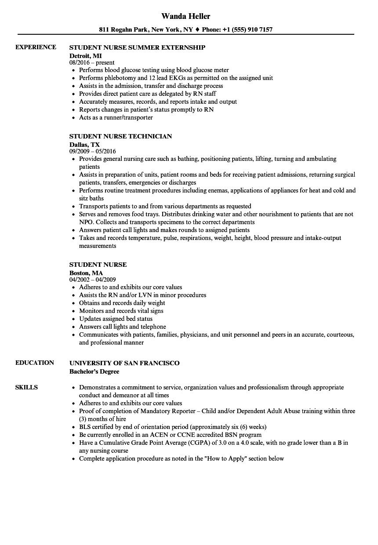 student nurse resume sample