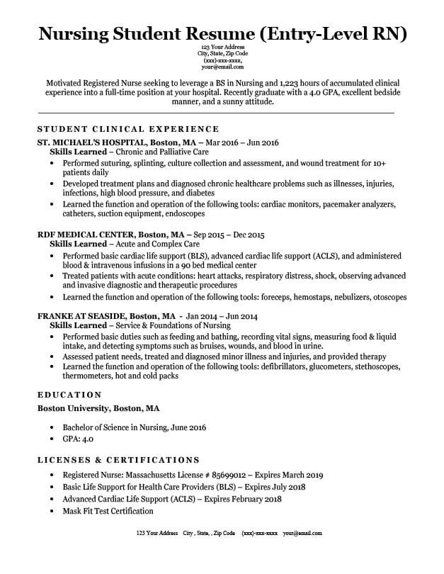 entry level nursing student resume sample