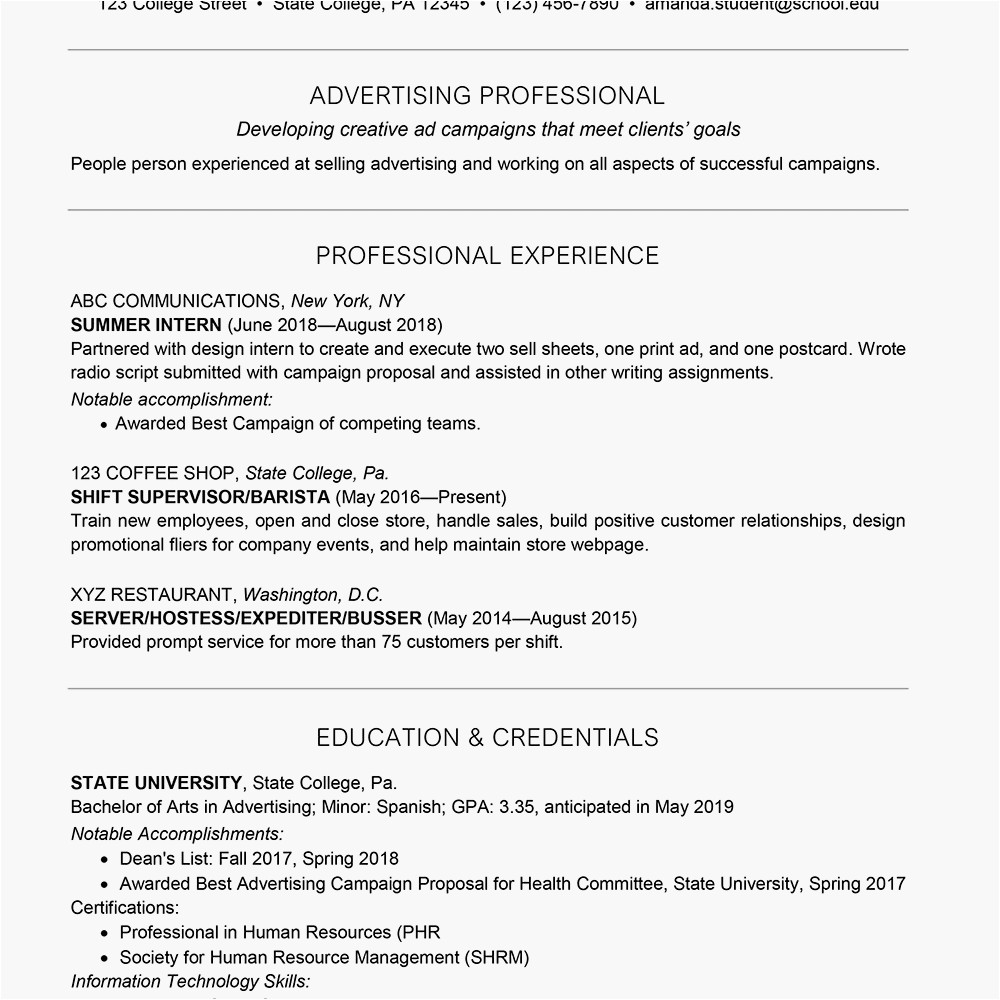 college student resume example 2063202