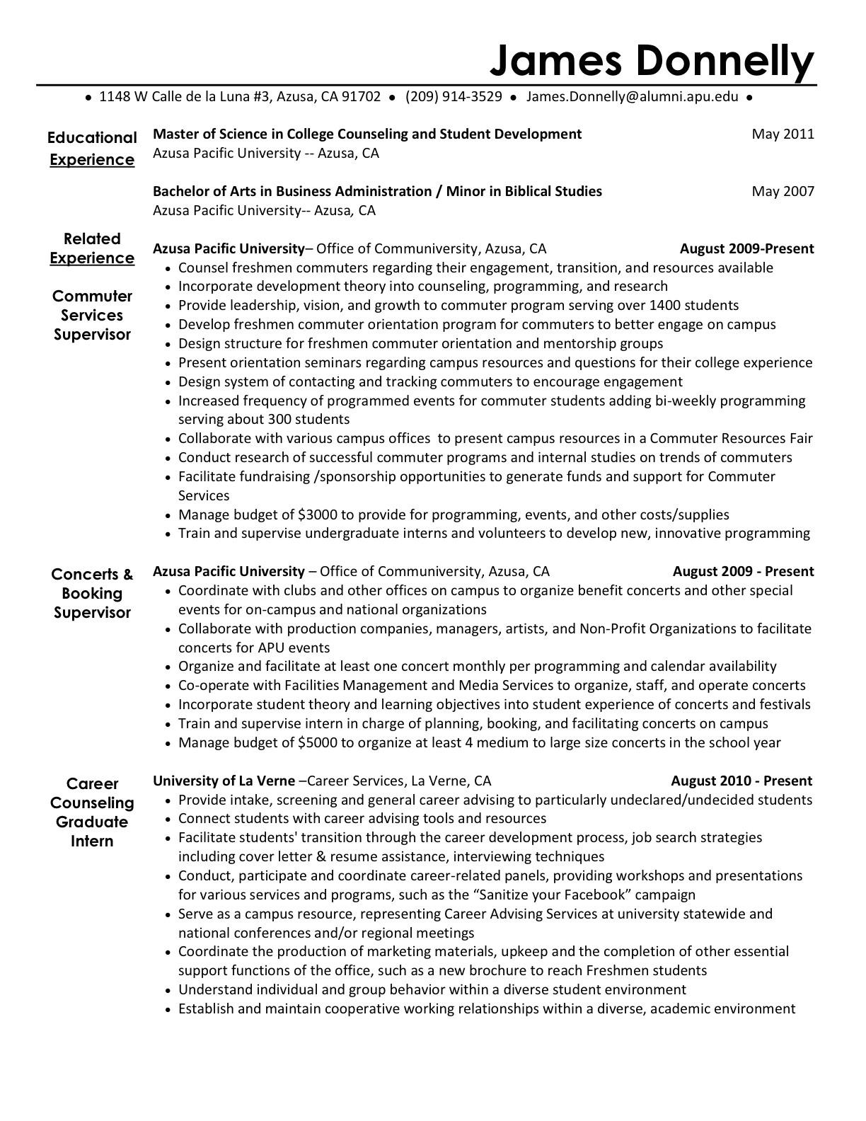 student activities resume