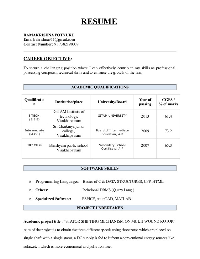 btech resume 45207158