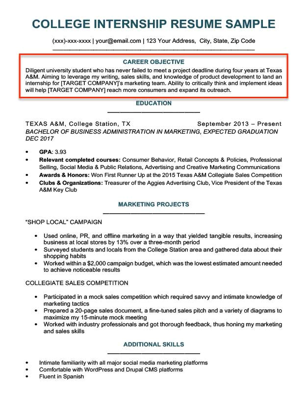 Student Resume Career Objective Examples Resume Objective Examples for Students and Professionals Rc