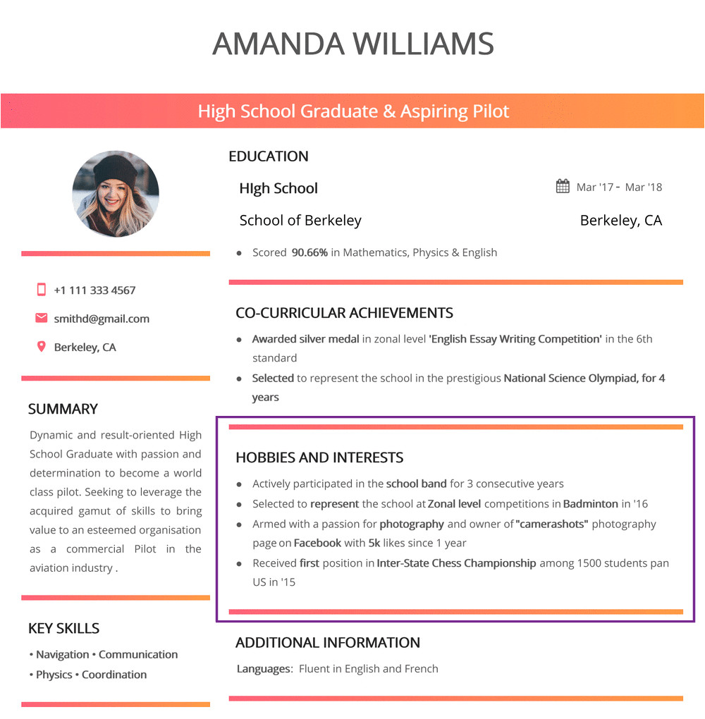Student Resume Hobbies Hobbies and Interests for Resume In 2019 150 Examples