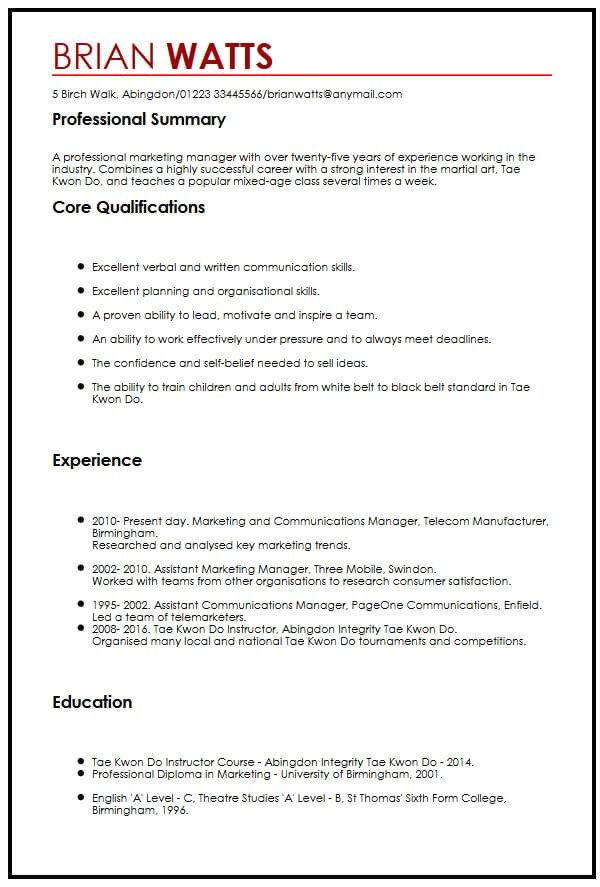 Student Resume Interests Examples Cv Sample with Interests Myperfectcv
