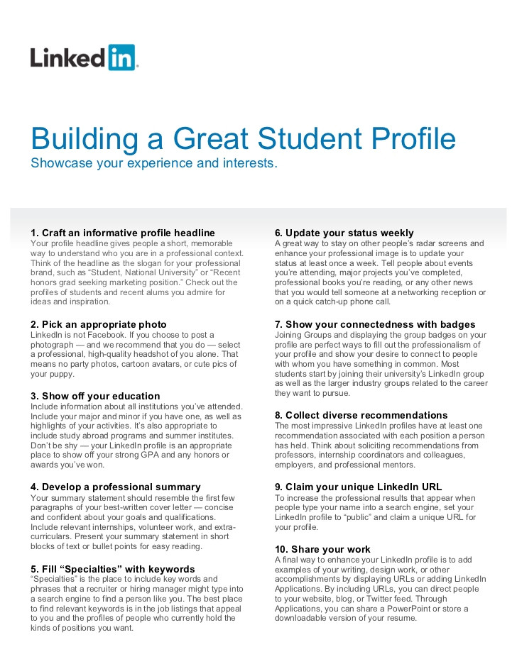 how to build a great student linked in profile