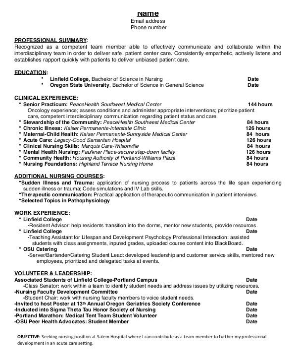 Student Resume Nursing Nursing Student Resume Example 10 Free Word Pdf
