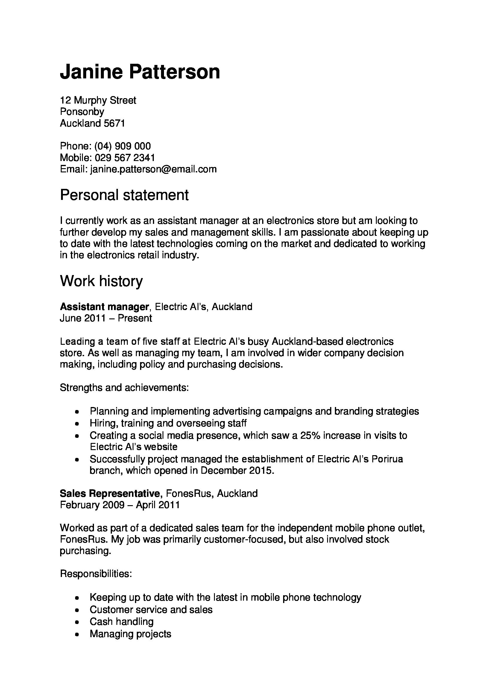 Student Resume Nz Cv Template New Zealand Resume Profile Examples Resume