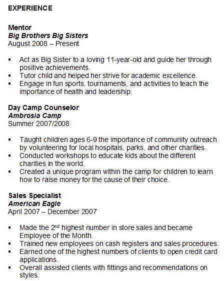 volunteer experience resume