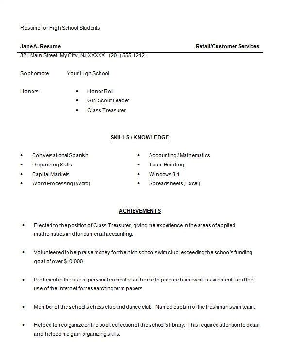Student Resume Word High School Resume Template 9 Free Word Excel Pdf