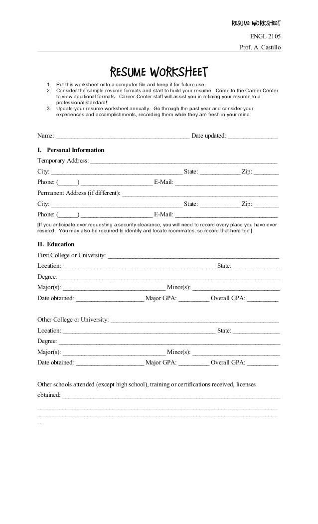 resume worksheet 15490188