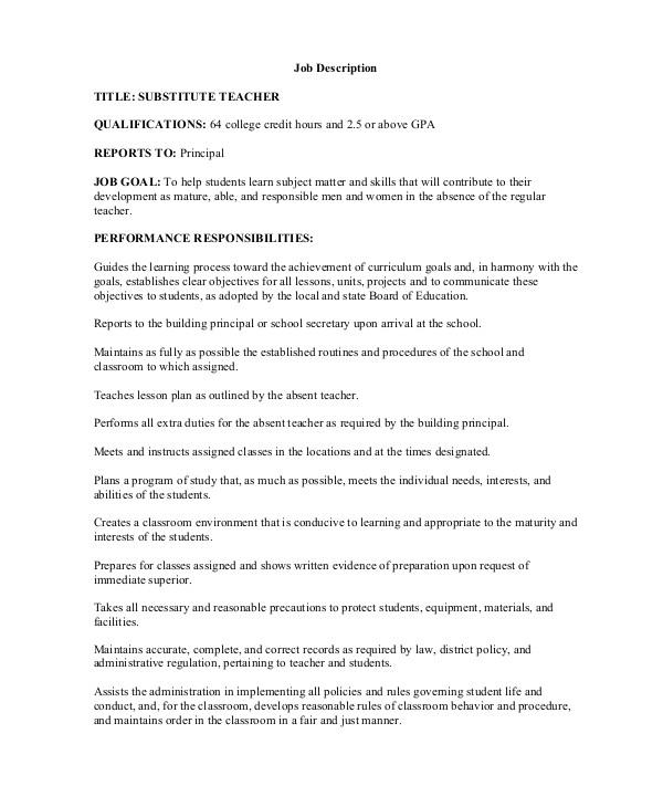 Student Teacher Responsibilities Resume Sample Teacher Job Description 12 Examples In Word Pdf