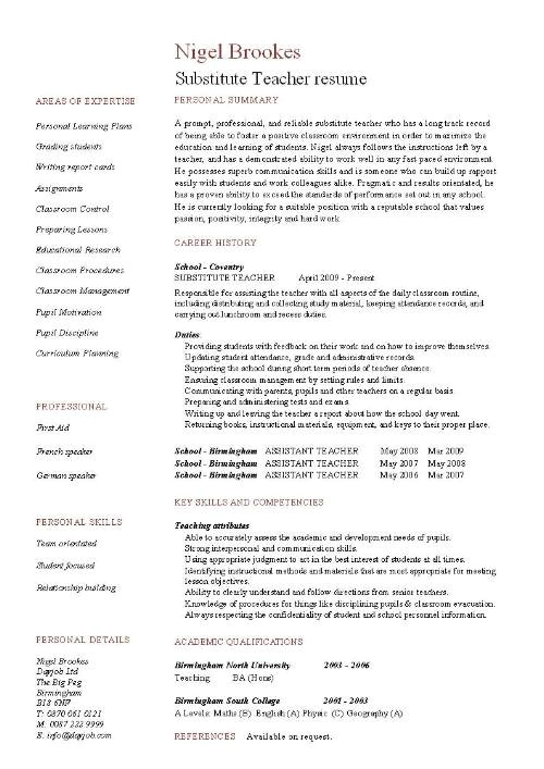 substitute teacher resume 1262