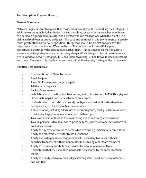 network engineer job description