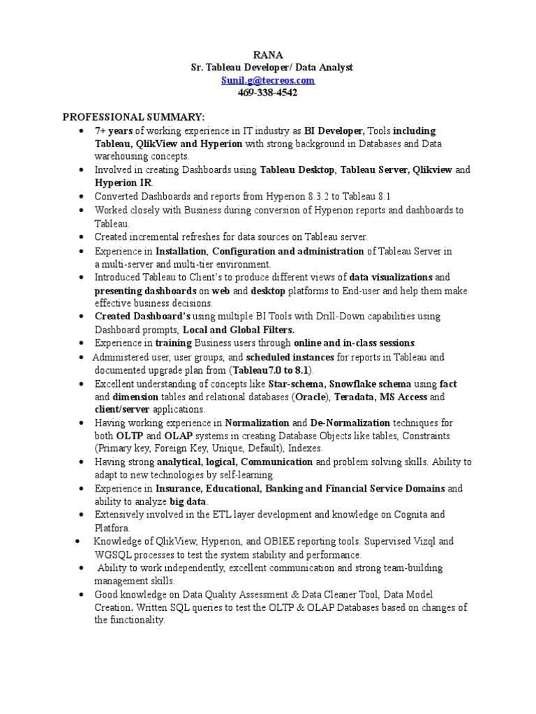 ranadheer tableau resume