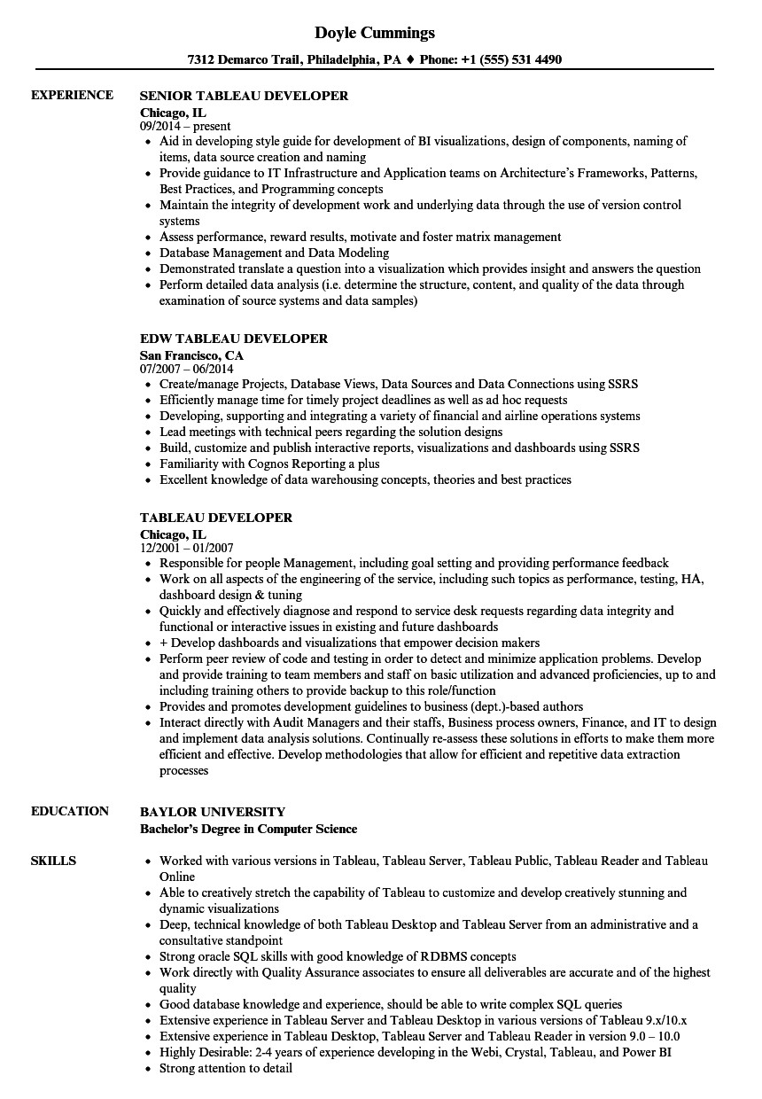 Tableau Resume Sample Tableau Developer Resume Samples Velvet Jobs