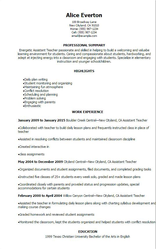 assistant teacher resume