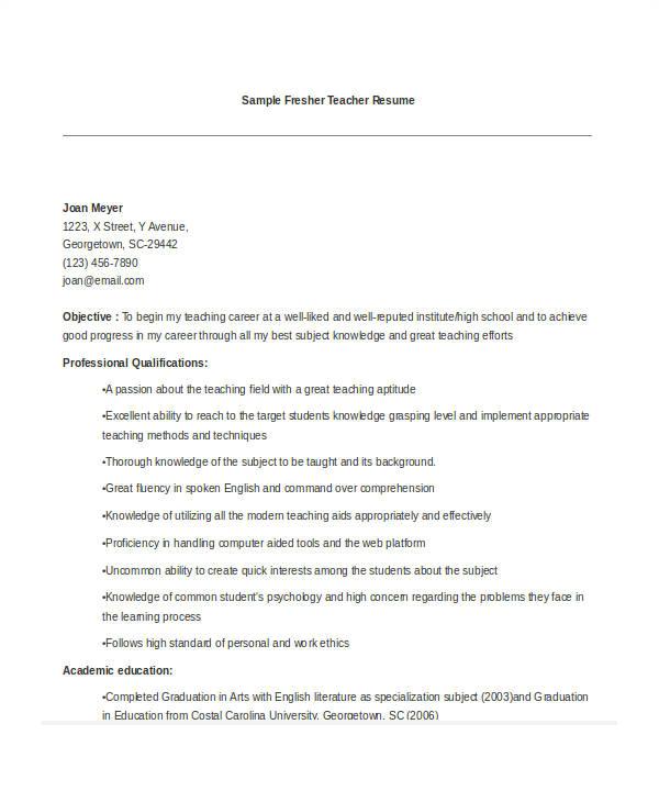 Teacher Job Application Resume Teacher Resume Examples 26 Free Word Pdf Documents