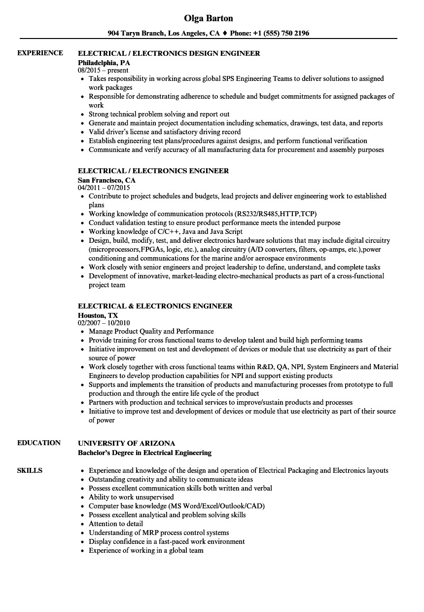 electrical engineer electronics engineer resume sample