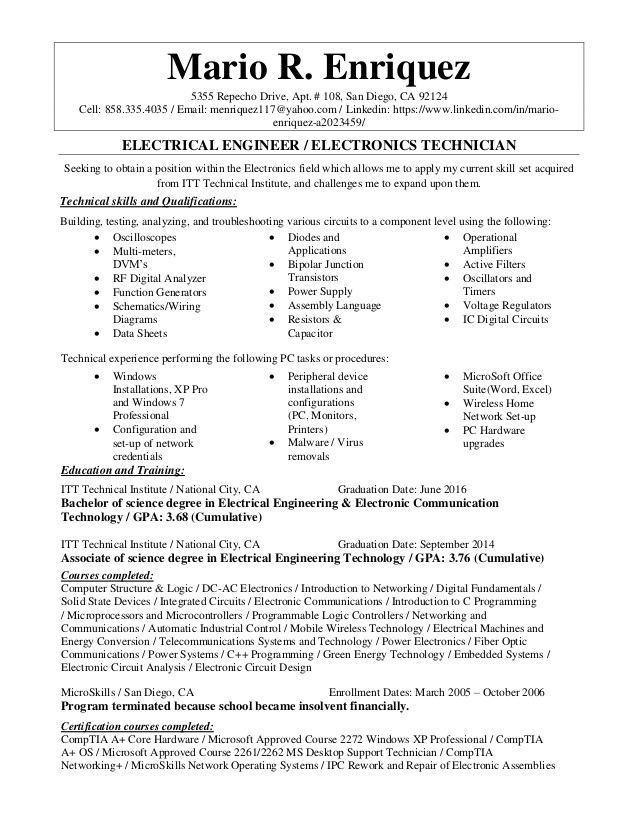 electrical engineer electronics technician resume 72320505