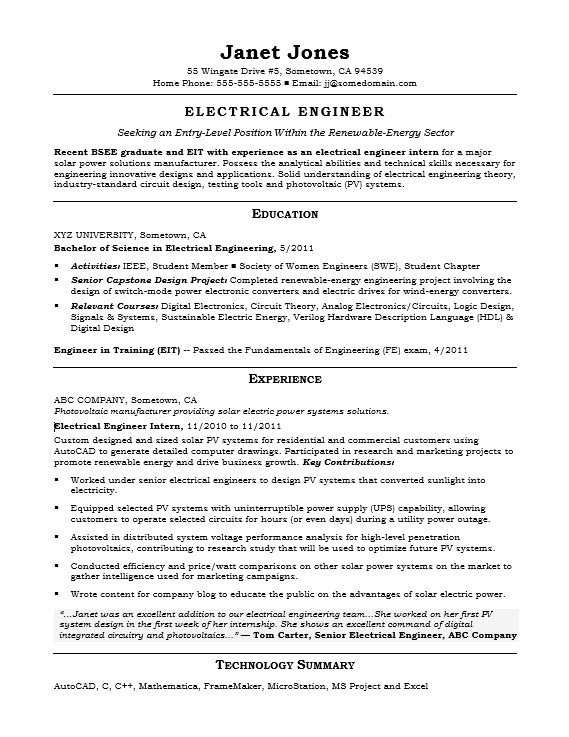 sample resume electrical engineer entry level