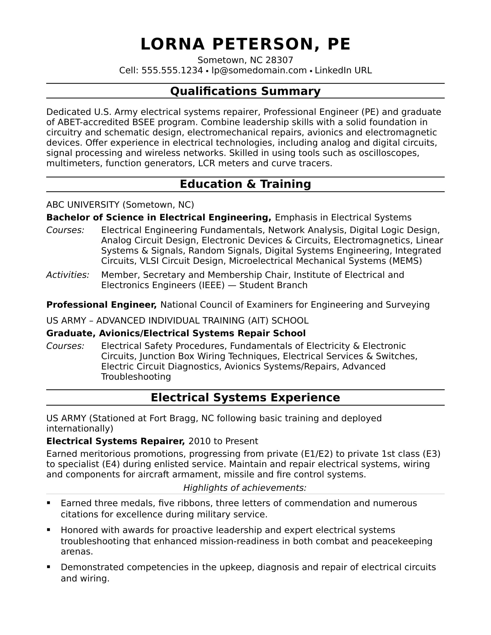 sample resume electrical engineer midlevel