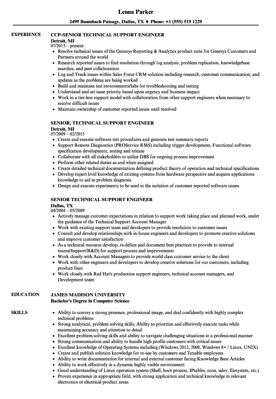senior technical support engineer resume sample
