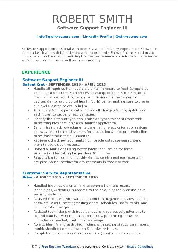 Technical Support Engineer Resume Pdf software Support Engineer Resume Samples Qwikresume