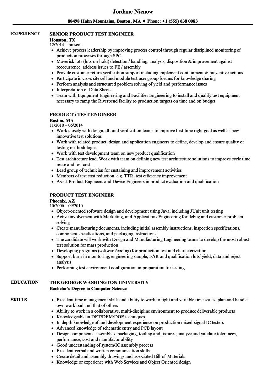 product test engineer resume sample