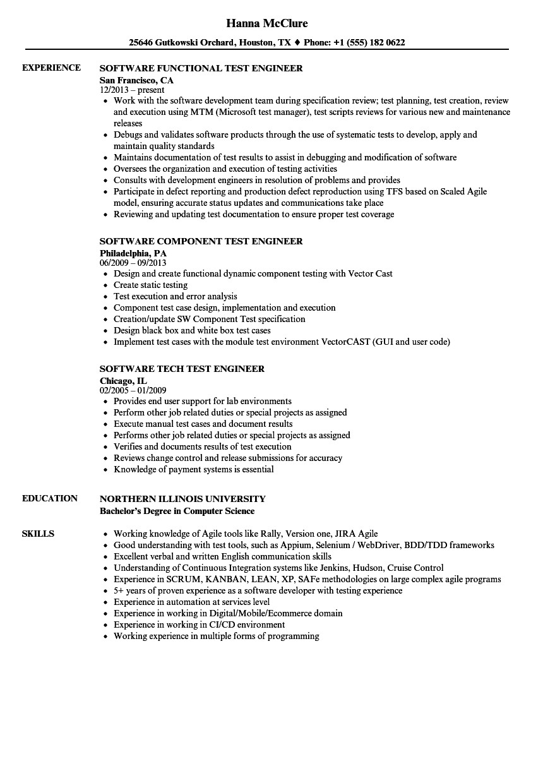test engineer software resume sample