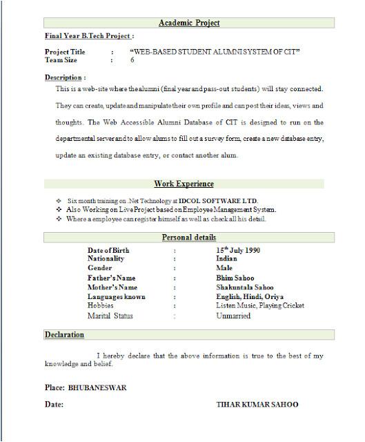 Top Fresher Resume format Best Resume format for Freshers