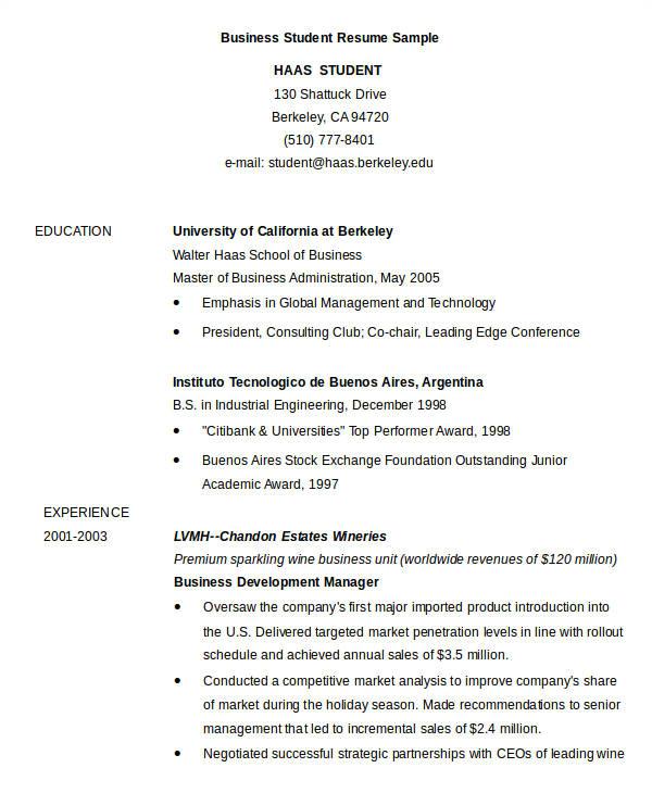 sample resume business student