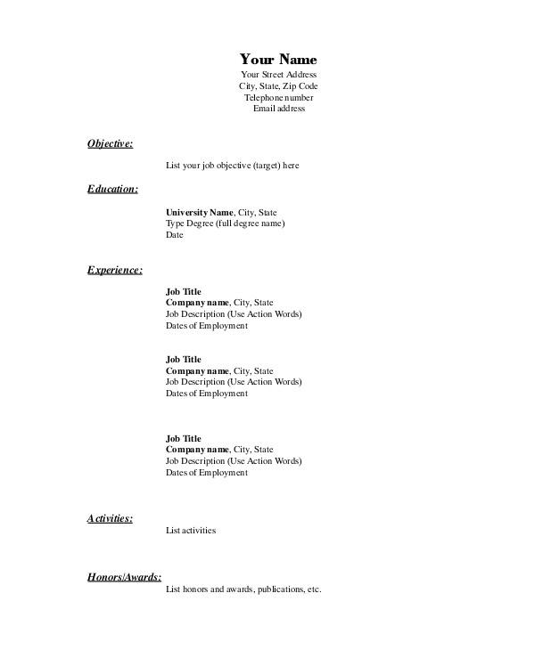 basic resume example