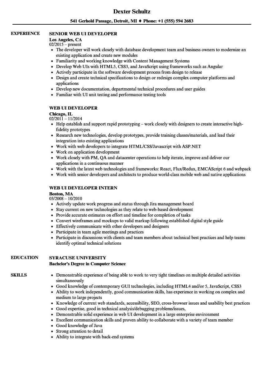 web ui developer resume sample