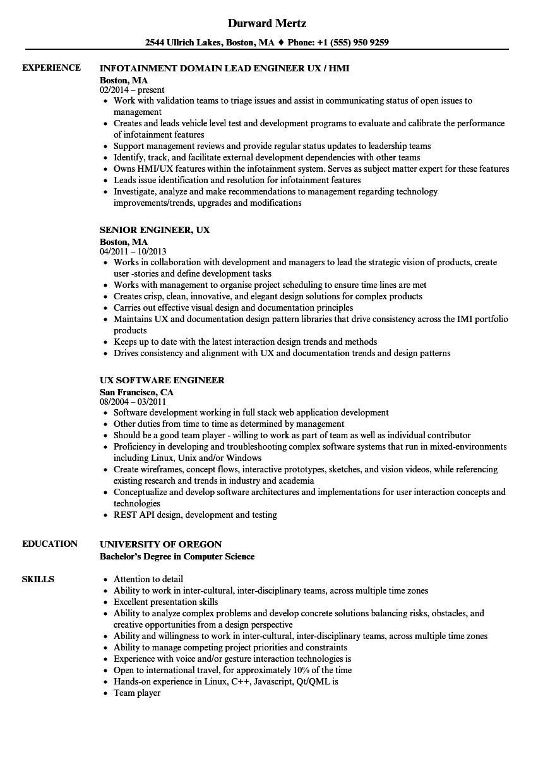 engineer ux resume sample