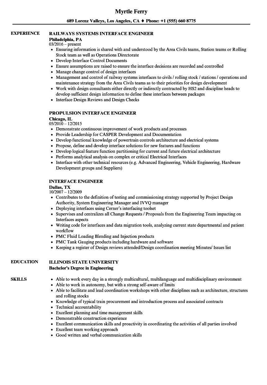 interface engineer resume sample