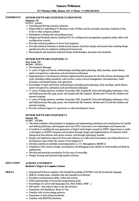 senior software engineer ui resume sample