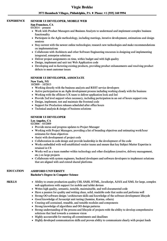 senior ui developer resume sample