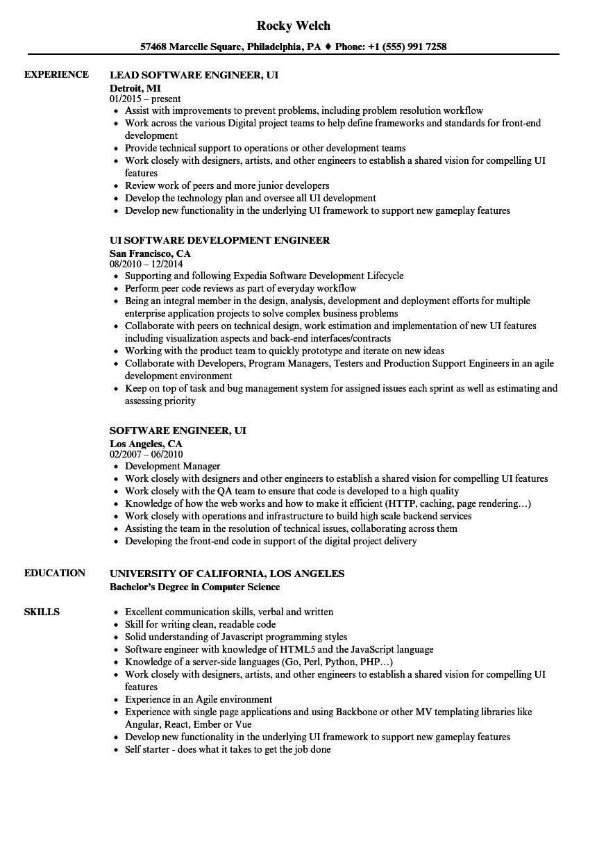 software engineer ui resume sample