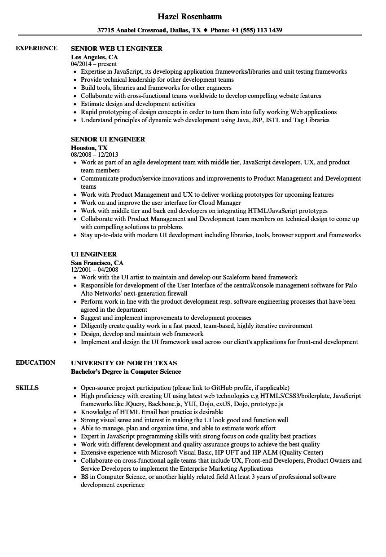 ui engineer resume sample