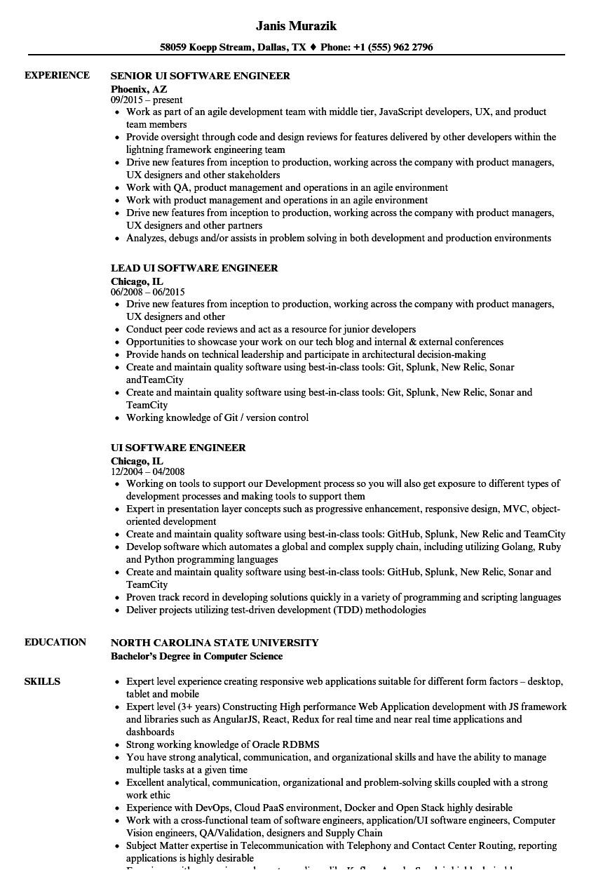 Ui Engineer Resume Ui software Engineer Resume Samples Velvet Jobs