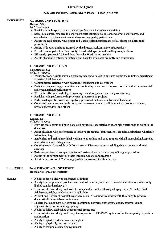ultrasound tech resume sample
