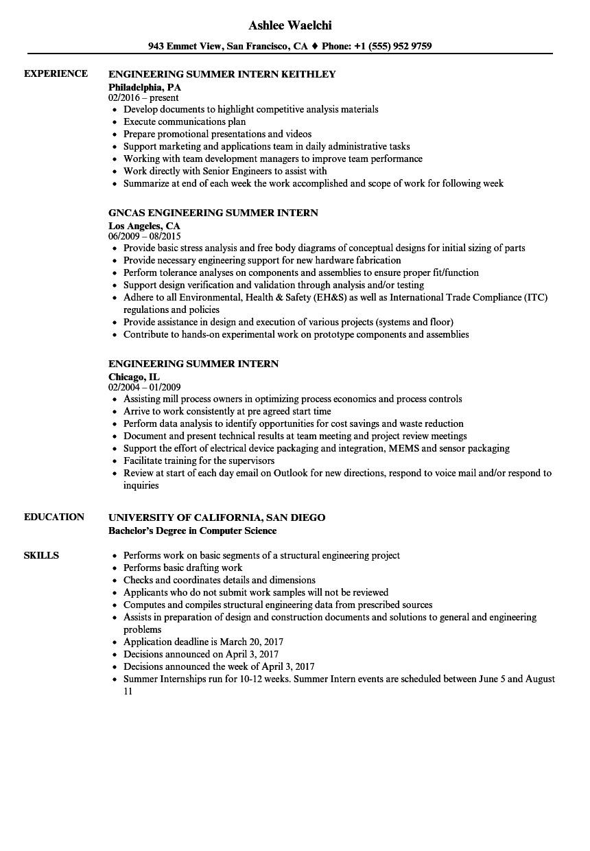 engineering summer intern resume sample