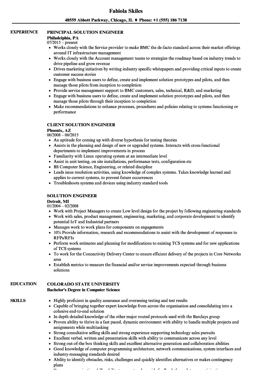 unix engineer resume