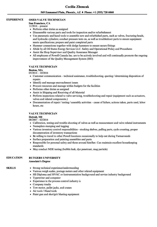Valve Technician Resume In Word format Valve Technician Resume Samples Velvet Jobs