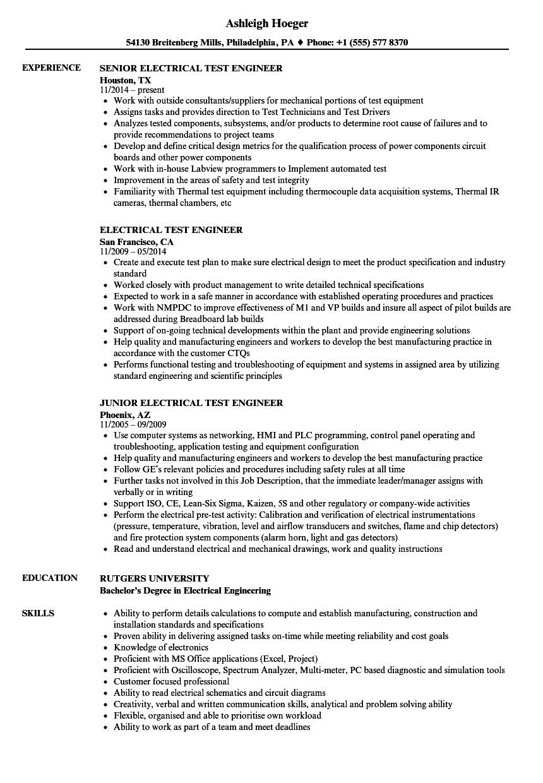 electrical test engineer resume sample