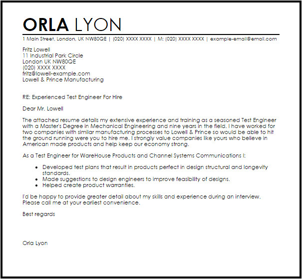 manufacturing test engineer cover letter