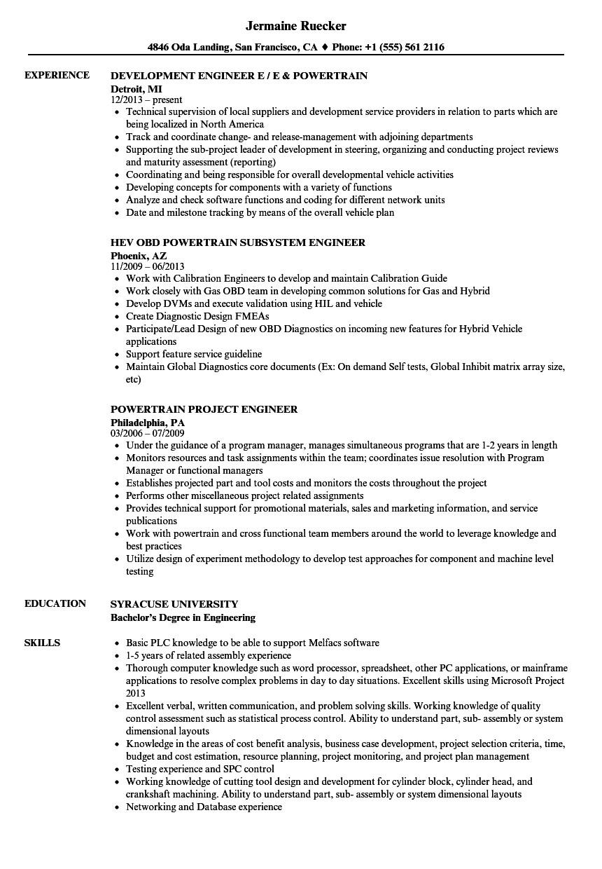 powertrain engineer resume sample