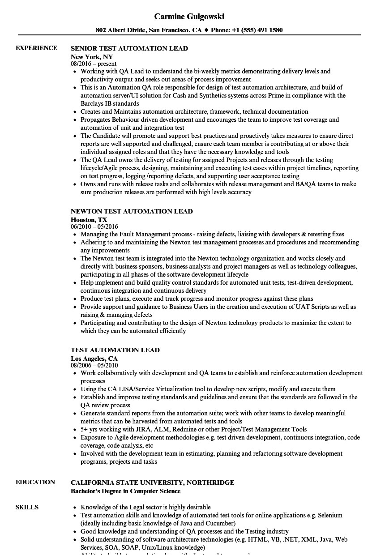 test automation lead resume sample