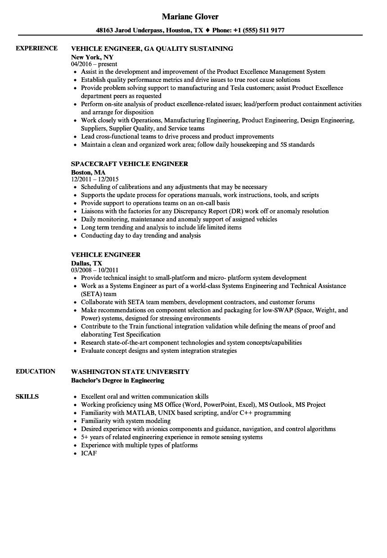 Vehicle Testing Engineer Resume Vehicle Engineer Resume Samples Velvet Jobs